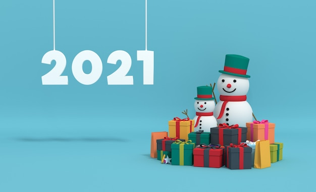3d 렌더링 2021 선물 상자와 눈사람.