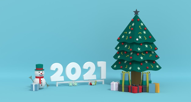 3d rendering 2021 with snowman and christmas ornament.