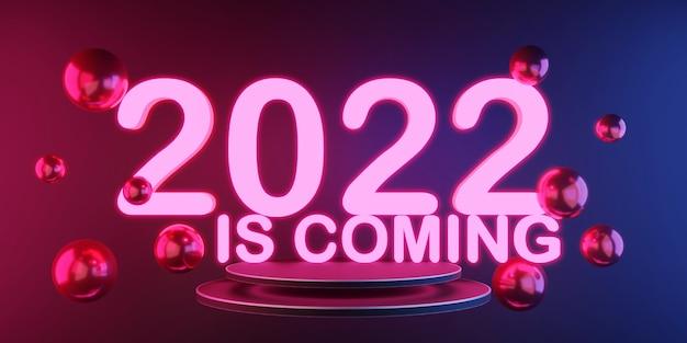 3d-рендеринг 2022 года светящийся неоновый свет в темной комнате празднование нового года розовый и синий свет