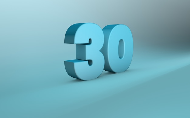 3d rendering of 30 number 3d lettering thirty number
