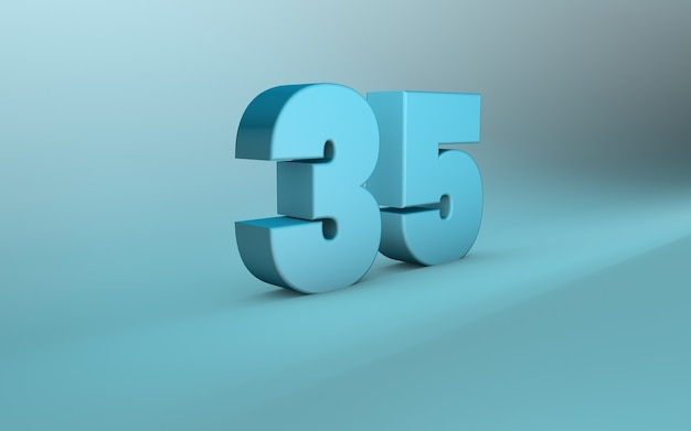 3d rendering of 35 number 3d lettering thirty five number