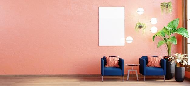 3d-рендеринг, 3d-иллюстрация, макет внутренней сцены и рамы, оранжевые стены, два синих кресла на контрасте с оранжевыми подушками. свисающие с потолка деревья украшают стены.