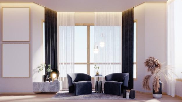 3d 렌더링, 3d 그림, 내부 장면 및 프레임 모형, 창 옆에 있는 좌석 공간 흰색 대리석 파티오, 나무 바닥, 나무 벽 프레임 2개가 내장된 파란색 회색 사이드 테이블의 안락의자.