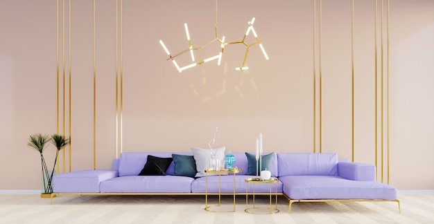 3d 렌더링, 3d 그림, 내부 장면 및 모형, 베이지색 벽 및 금색 라인 스테인리스, 현대적인 소파 및 펜던트 조명