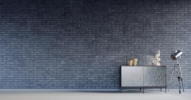 3dレンダリング、3dイラスト、インテリアシーンとモックアップ、モダンなコンソール付きのレンガの壁