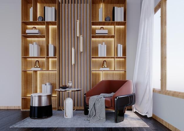 3d-рендеринг, 3d-иллюстрация, интерьерная сцена и макет, угловая книжная полка, белая стена, деревянная полка со светодиодной подсветкой. теплый белый цвет, кресло в центре комнаты.