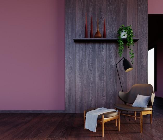 3dレンダリング、3dイラスト、インテリアシーンとモックアップ、インドの赤い壁とモダンなアームチェア付きの木製の壁