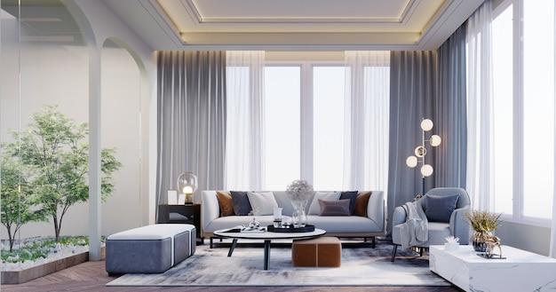 3dレンダリング、3dイラスト、インテリアシーンとモックアップ、ガーデンビューのリビングルームグレーの家具フロアランプグレーのカーペットの床。