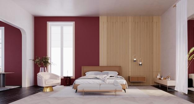 3d 렌더링, 3d 그림, 내부 장면 및 모형, 현대적인 고급스러운 침실 cheuri 붉은 벽과 나무.