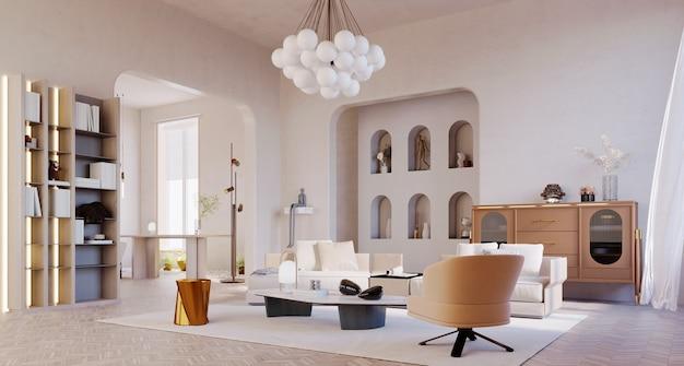 3dレンダリング、3dイラスト、インテリアシーンとモックアップ、モダンで豪華なリビングルームの白い壁茶色の白い家具。