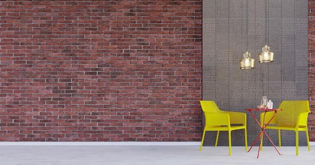 3dレンダリング、3dイラスト、インテリアシーンとモックアップ、モダンな椅子ランプとコーヒーテーブルと赤い壁