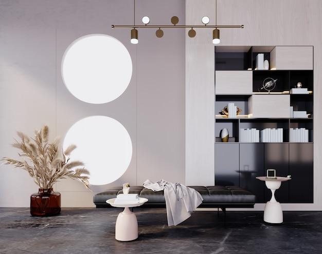 3d 렌더링, 3d 그림, 내부 장면 및 모형, 흰색과 밝은 주황색 벽이 있는 편안한 방.