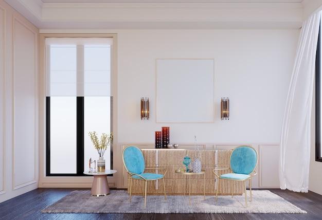 3dレンダリング、3dイラスト、インテリアシーンとモックアップ、座っているコーナー、2つの椅子、明るい青、大きな窓、快適な雰囲気。