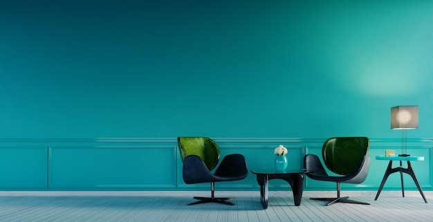 3d rendering,3d illustration, interior scene and  mockup, aqua wall color with two modern armchair and coffee table
