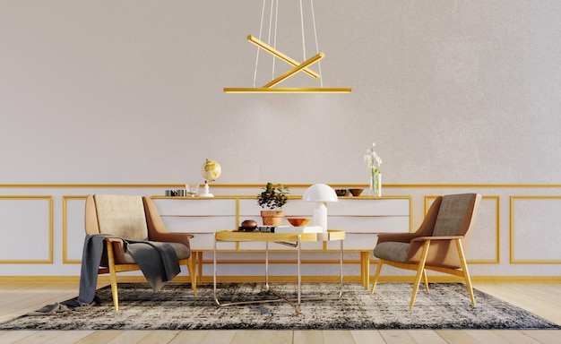 3d rendering,3d illustration, interior scene and  mockup,white wall with 2 modern armchair and coffee table, decorative wall wood frame panels and modern ceiling lamp