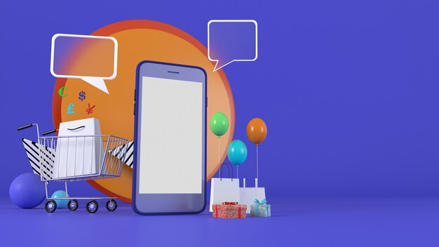 3d rendering.  3d illustration smartphone to enter content surrounded by shopping bags, shopping carts
