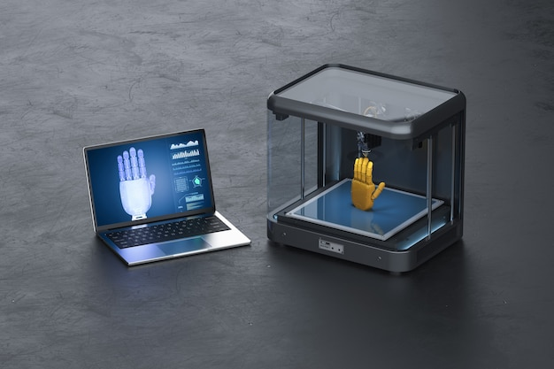 3d 렌더링 3d 프린터 인쇄 로봇 손