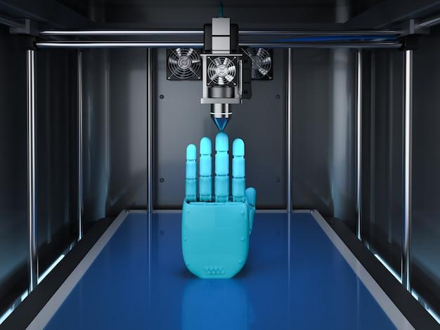 로봇 손으로 3d 렌더링 3d 프린터