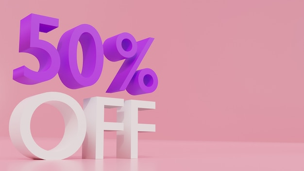 3d rendering of 50 % off