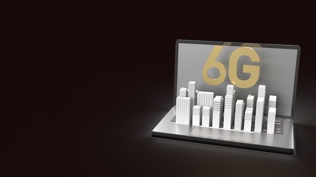The 3d rendering 6g text gold surface glow on notebook and building  in dark image for mobile technology content.