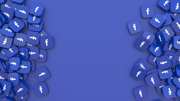 3d-рендеринг кучи квадратных значков facebook на синем