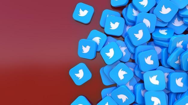 3d-рендеринг кучи квадратных значков twitter на темно-красном фоне
