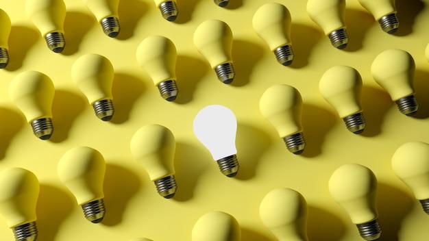 3d-рендеринг. горящая лампочка на фоне желтых выключенных ламп.