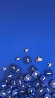 3d-рендеринг множества квадратных значков facebook и похожих значков на синем вертикальном фоне