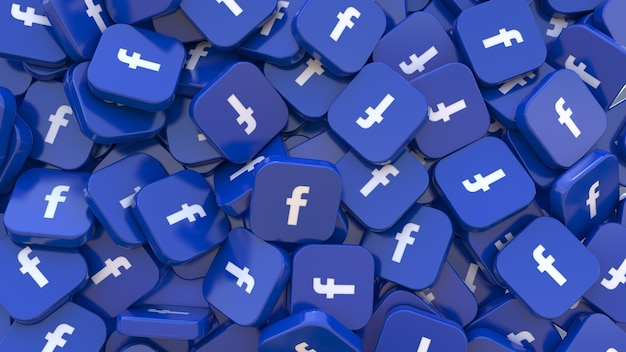 3d-рендеринг множества квадратных значков facebook крупным планом