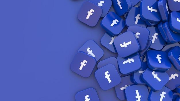 3d-рендеринг множества квадратных значков facebook на синем Premium Фотографии