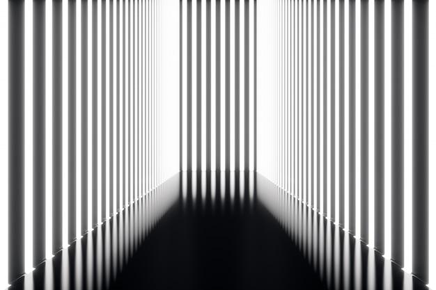 ネオンの明かりで3 dレンダリングの抽象化された未来的な暗い廊下。輝く光。未来的な建築の背景