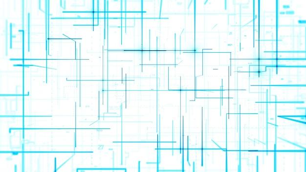 3dレンダリングの抽象的な背景。線、輝き、乱数を使ったデジタルイラスト。テクノロジーのテーマ。