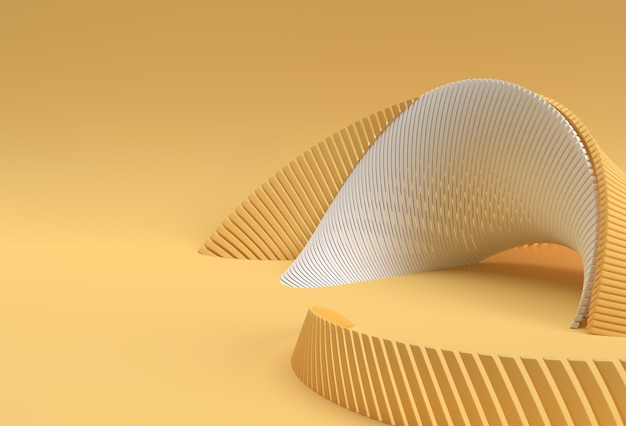 3d rendering abstract background with wave line. creative architectural concept.