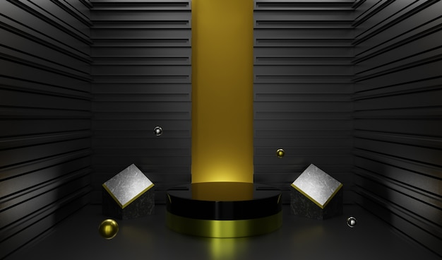 3d rendering of abstract black background premium podium