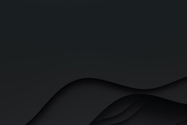 3d 렌더링, 웹 사이트 템플릿 또는 프리젠테이션 템플릿, 검정색 배경에 대한 추상 검정 종이 컷 아트 배경 디자인