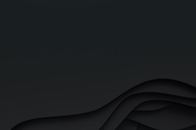 3d-рендеринг, абстрактные черная бумага вырезать дизайн фона искусства для шаблона веб-сайта или презентации, черный фон