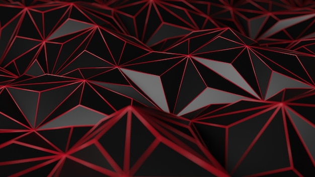 3d rendering of abstract black polygonal mesh background