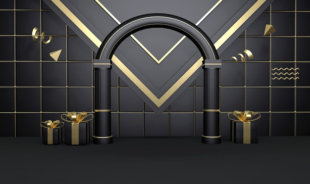 3d rendering of abstract black stage background with for product display