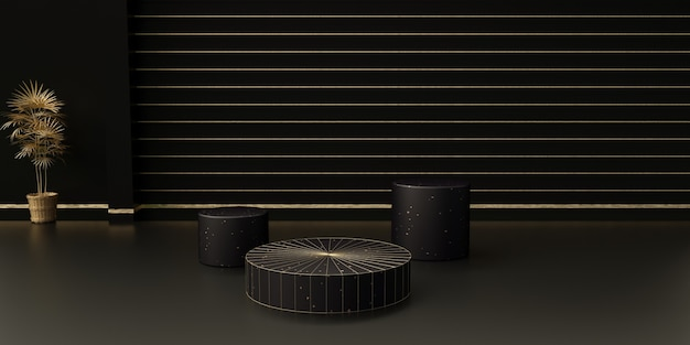 3d rendering of abstract black stage with round podium