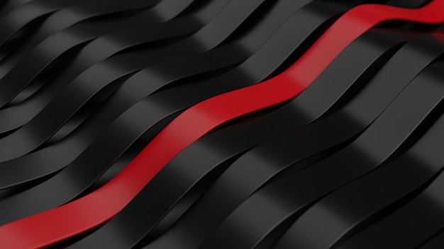 3d rendering of abstract black with red geometric background