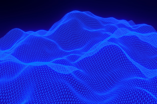 3d rendering, abstract blue background digital landscape with particles dots on black background,low poly on black background