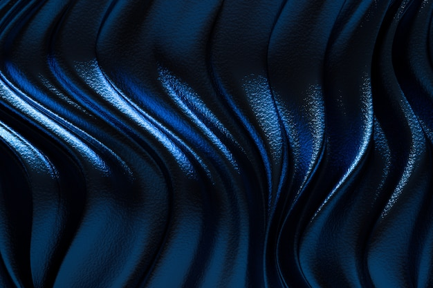3 dレンダリング、抽象的な青い背景の高級布または液体波またはグランジシルクテクスチャサテンベルベット素材または高級背景またはエレガントな壁紙デザイン、青い背景の波状のひだ