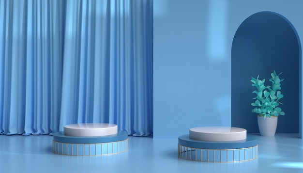 3d rendering of abstract blue background with curtain for product display