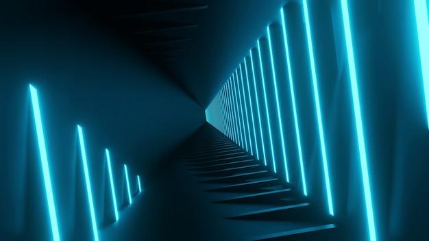 3d 렌더링 추상 블루 네온 검은 배경 일러스트 레이션