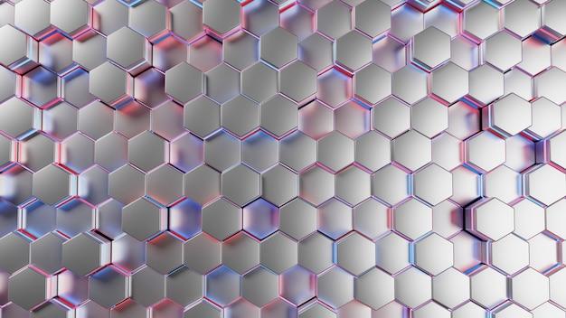 3d-рендеринг абстрактного синего, розового свечения футуристической текстуры шестиугольника.