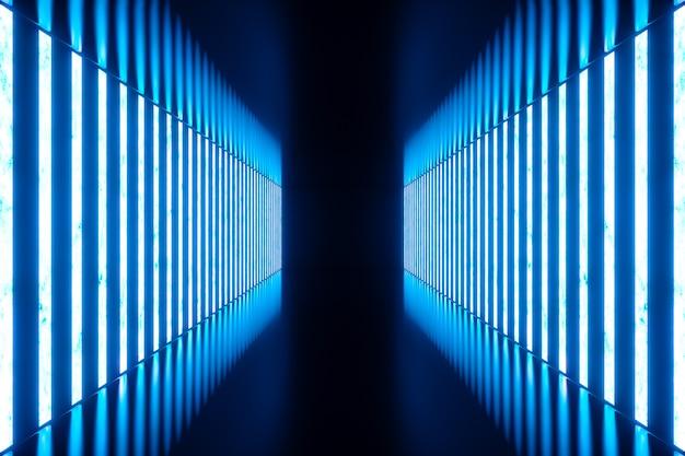 3d 렌더링 블루 네온 램프와 추상 블루 룸 인테리어입니다. 미래 건축 배경입니다. 디자인 프로젝트를위한 모형.