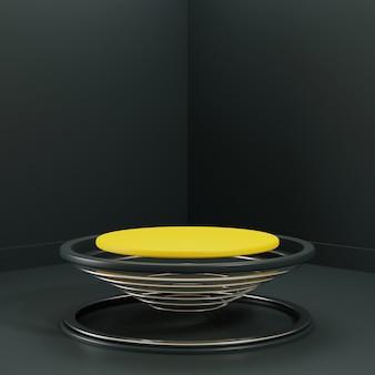 製品の表示のための3 dレンダリング抽象的なサークルリング表彰台シーン