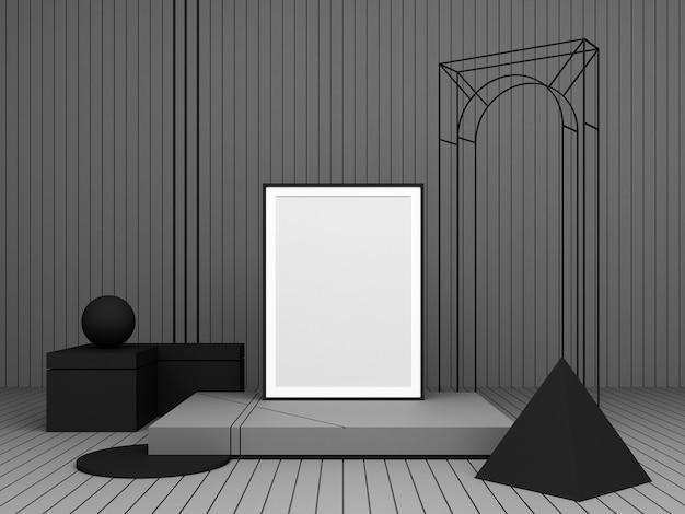 3d рендеринг абстрактная композиция темный цвет геометрические фигуры на сером фоне для презентации