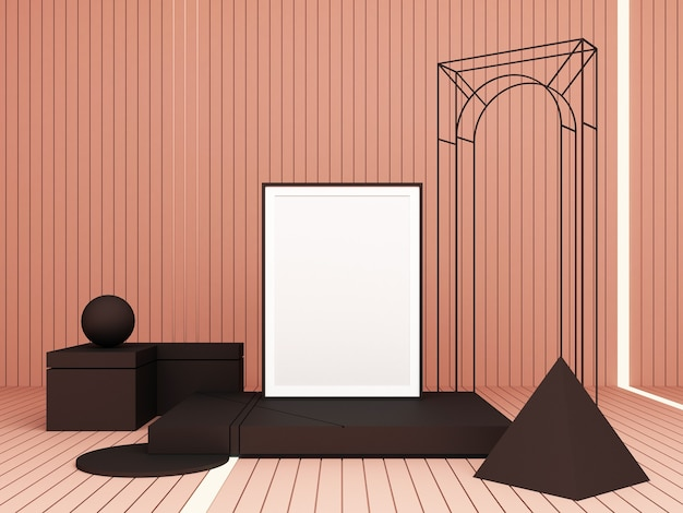 3d rendering abstract composition. geometric shapes on pink background for presentation
