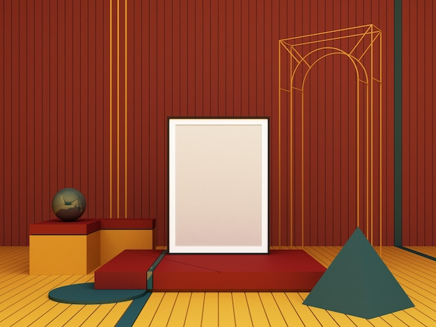 3d rendering abstract composition. geometric shapes on red background for presentation